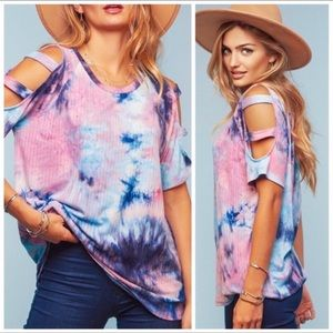 Ultra soft ribbed tie-dye cutout sleeve top